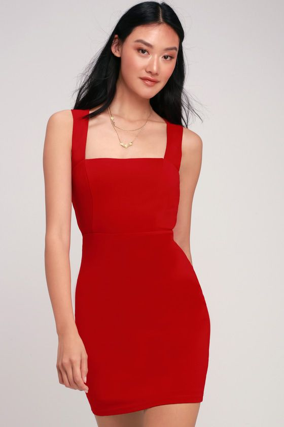 Sip Of Champagne Red Square Neck Bodycon Dress Bodycon Dress Red Dress Short Square Neckline Dress
