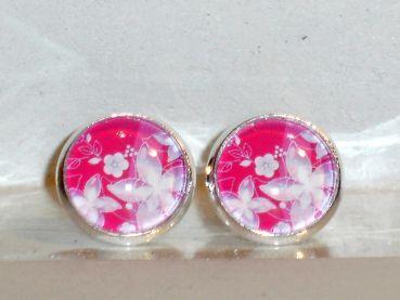 Ohrringe und Ohrstecker im Onlineshop - Verrückte Ohrringe und Schmuck Welt  - Ohrstecker Blume Blüte pink Glas Ohrschmuck Damen Neuware