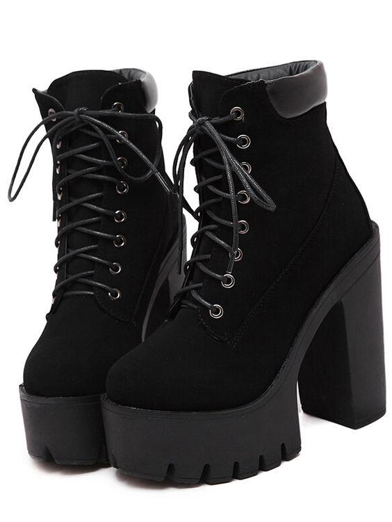 Black Chunky High Heel Hidden Platform Boots | High boots For