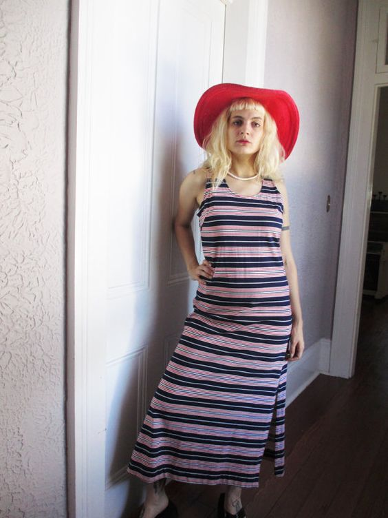 70's Vintage I. Magnin Striped Maxi Tank Dress by PaisleyBabylon