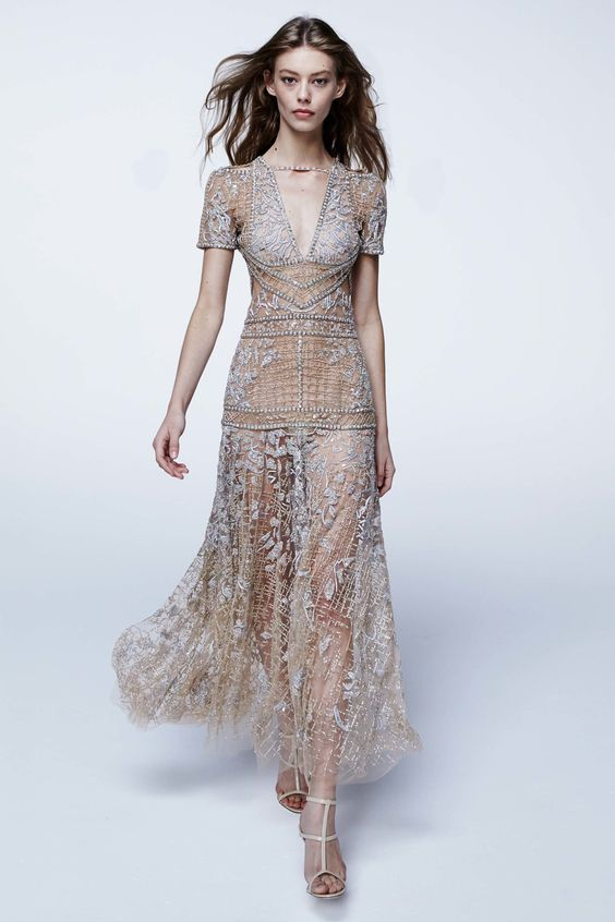 J. Mendel Spring 2017 Ready-to-Wear Fashion Show. Beautiful transparent lace dress for special occasions