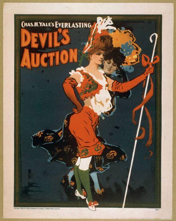 """""""Devil's Auction"""" vintage burlesque poster"""