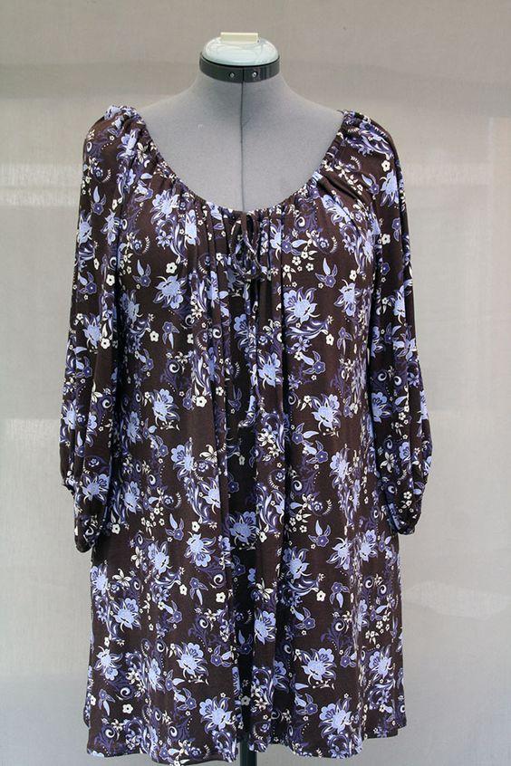 Blouse femme imprimée floraux chocolat et violine en jersey de coton : Chemises…
