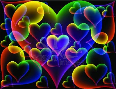 colored hearts background with multicolored hearts