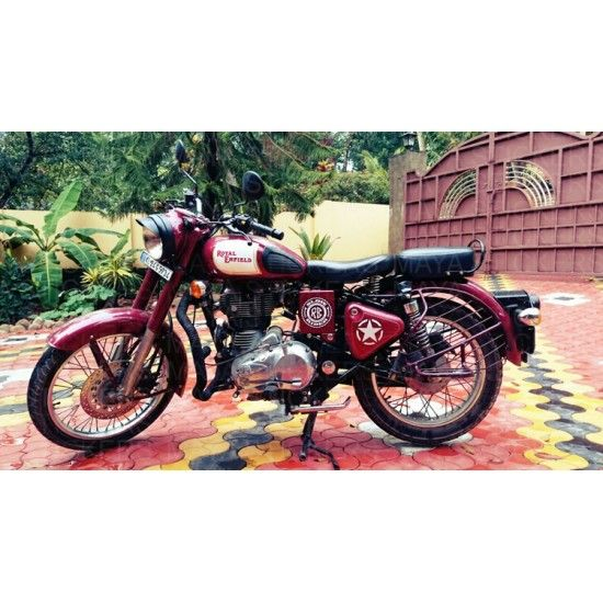 Slow Rider Stickering On Royal Enfield Classic Maroon Royal - Classic motorcycle custom stickers