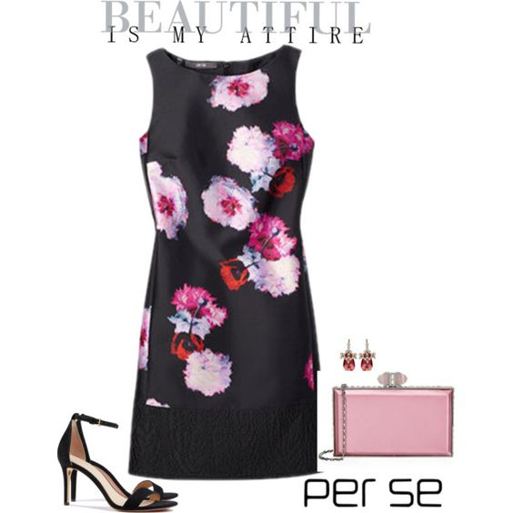 Carlisle | Per Se - Holiday 2015: The WHIMSICAL dress is black with digitally printed flowers floating all over it. www.carlislecollection.com
