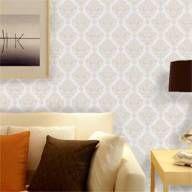 Papel de parede clássico em cores bege e branco 021