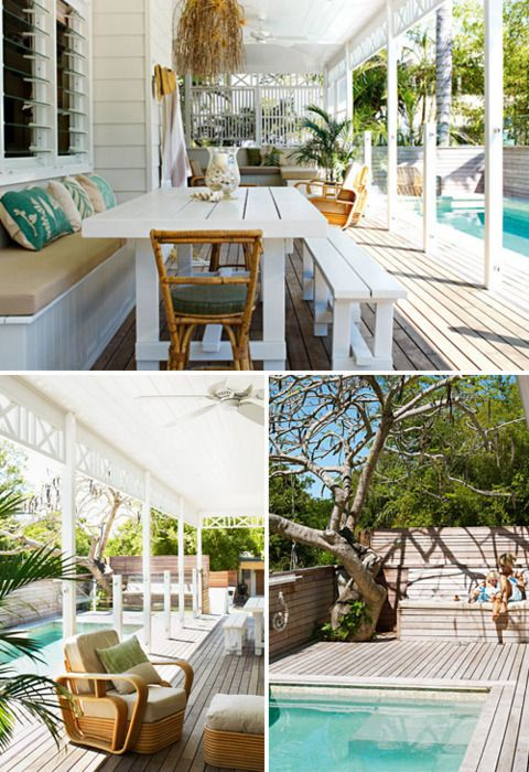 White, natural sand and grey and pops of aqua decorate a summer haven in Byron Bay.