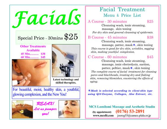 Facials and Skincare Menu San Luis Obispo Sabrina Carelli