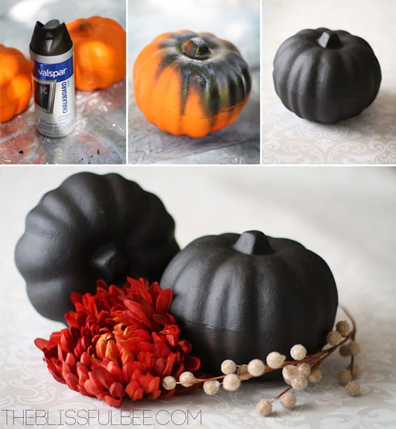 (1) Hometalk :: DIY Dollar Store Chalkboard Paint Pumpkins