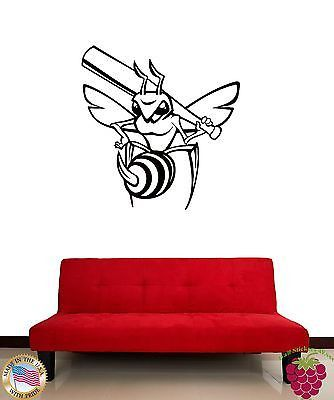 Wall Sticker Baseball Bee with Bat Funny Cool Decor for Living Room z1384