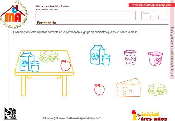 Ficha para niños a partir de los 3 años. Observa y encierra aquellos alimentos que pertenecen al grupo de alimentos que están sobre la mesa. Pertenencia