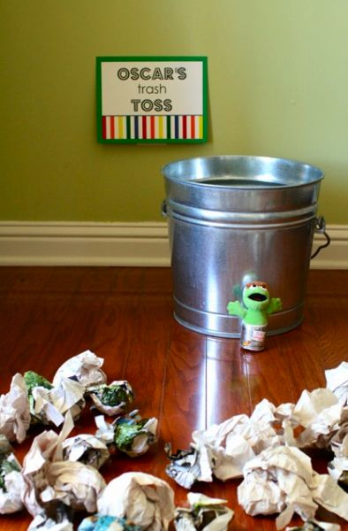 Oscar's Trash Toss.. Little ones love to throw trash away. What a fun game.