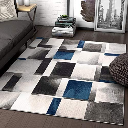 Well Woven Lane Blue Modern Geometric Boxes Squares Pattern Area Rug 57 5 3 X 7 3 Https Leathersofaset Co Well Woven Lane Well Woven Area Rugs Geometric Box
