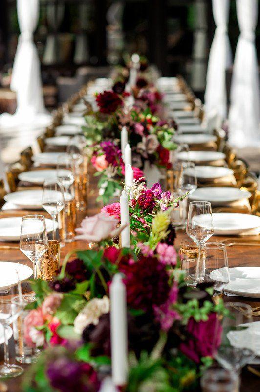 Burgundy Floral Wedding Centerpiece Greenery Garland With Pink Flowers And Candl Wedding Decor Elegant Table Arrangements Wedding Wedding Floral Centerpieces