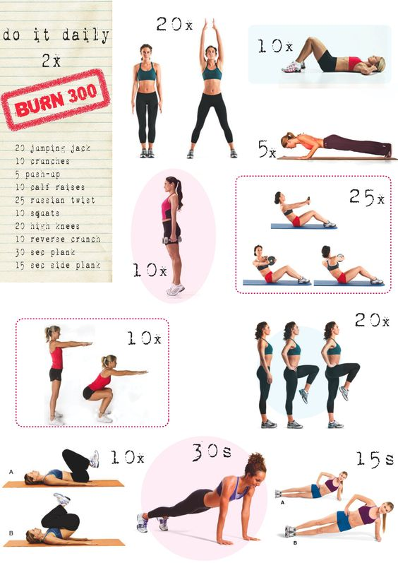 workout: burn 300 calories I know I already pinned this but I need to see it again