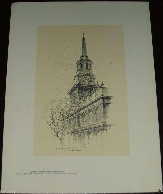Vintage 1922 Print by O.R. Eggers of Christ Church In Philadelphia