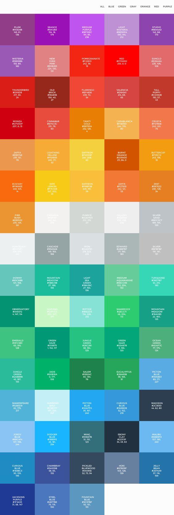 Flat UI colors palettes