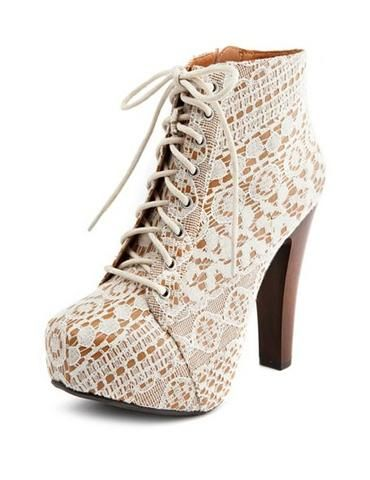 Lace Lace-up Heel Bootie