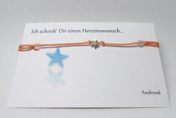 ♥ Wunschbänsel Funkel Stern ♥ 925 Silber in Lachs von Andressâ auf DaWanda.com