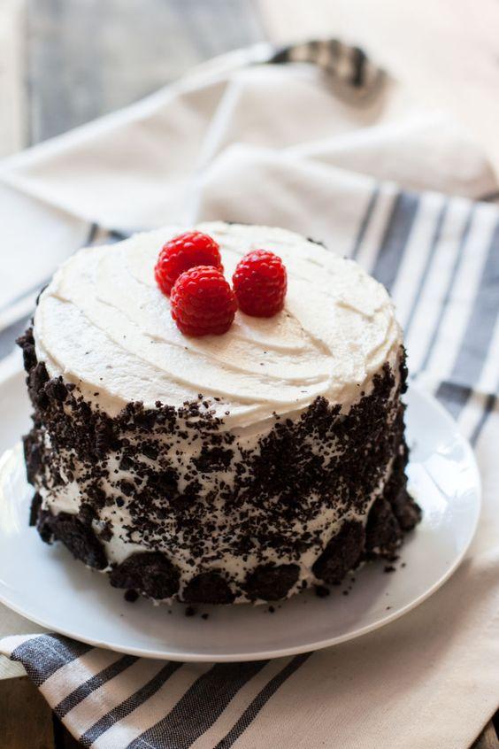 Vegan Vanilla, Raspberry, & Oreo cake recipe with vegan vanilla buttercream frosting from mycaliforniaroots.com, a vegetarian food blog.
