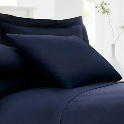 Home Collection Navy cotton rich percale pillow case pair | Debenhams