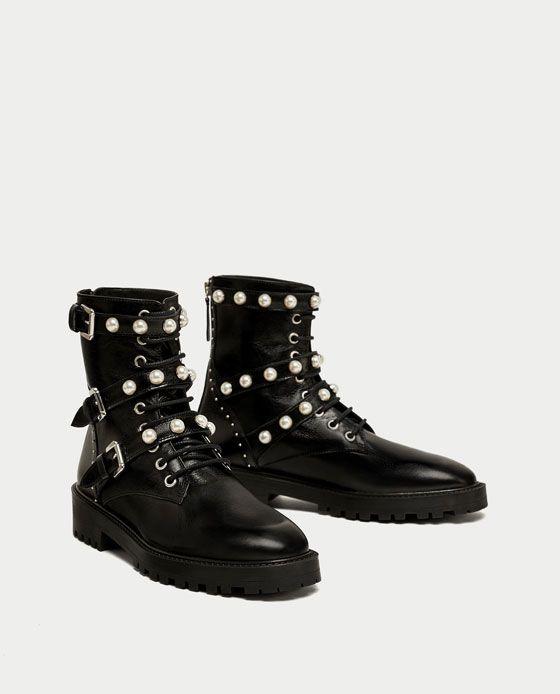 BOTÍN PIEL DETALLE PERLAS | Schuh stiefel, Schuhe damen und