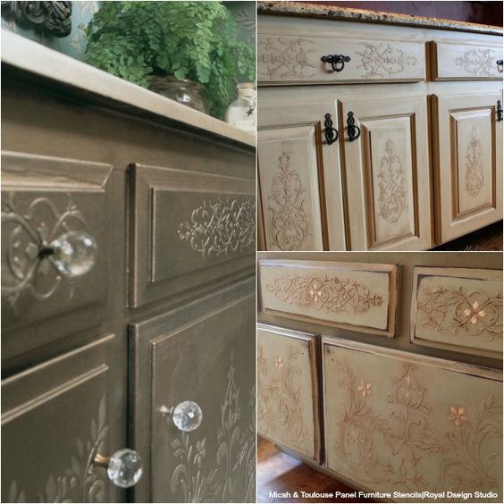 20 DIY Cabinet Door Makeovers and Painting Ideas with Furniture Stencils from Royal Design Studio