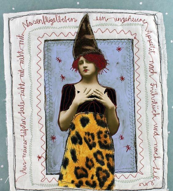 Collagen - Nadelkunst / Papier-Stoffcollage - ein Designerstück von mARTinahaussmann bei DaWanda