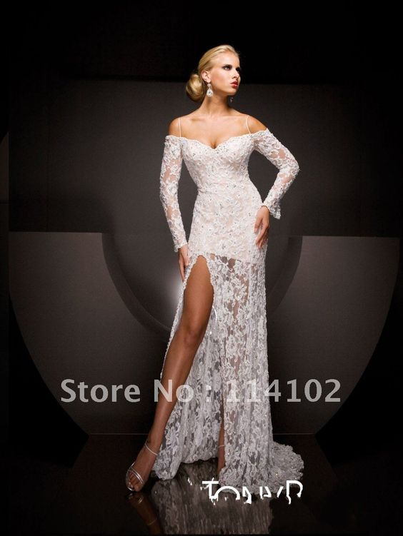 Excellent Charming Designer White Lace Long Sleeve Split A-line ...