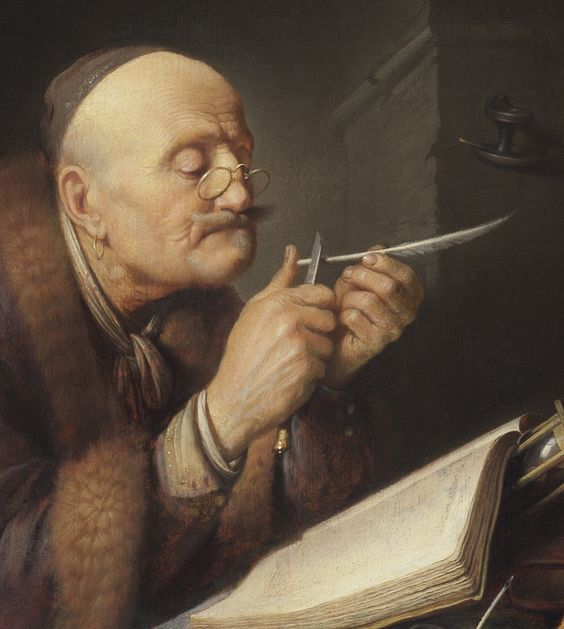 Gerrit Dou, Old Scholar sharpening a Quill Pen (detail) 1630-35. The Leiden Collection, New York, 4/19/14: