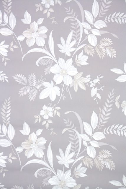 Vintage Wallpaper Floral Botanical Gray And White In 2019
