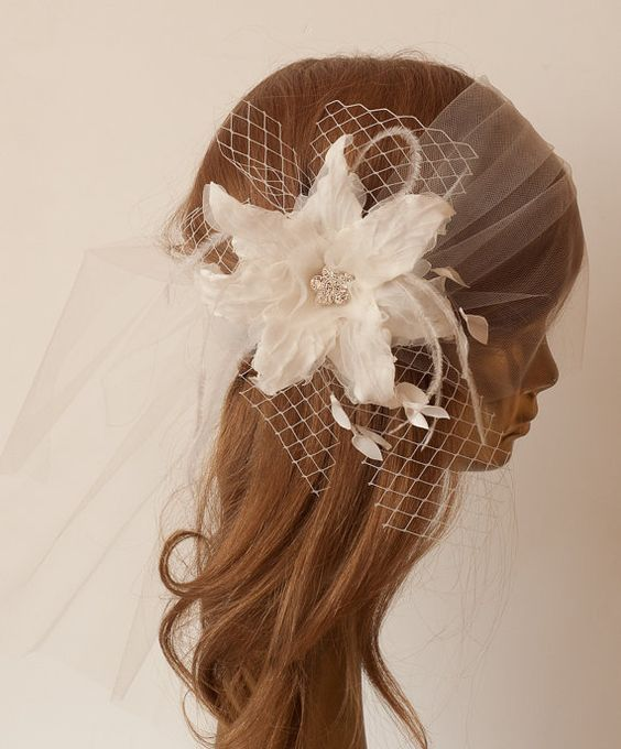 Unique Ivory BIRDCAGE VEIL with Amazing Flower, ostrich feathers and Rhinestone Brooch. Bridal FASCINATOR, $85.00