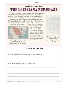 Worksheets Louisiana History Worksheets louisiana purchase main idea and on pinterest 5th grade worksheet about the purchase