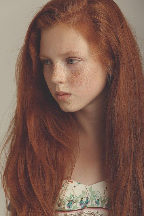 Freckles green with red eyes girl hair