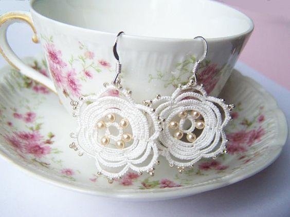 Flower earrings in lace  Silver crochet  by DentelleLilasLace
