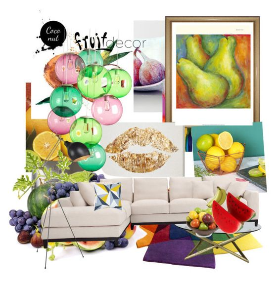 """""""Fruity"""" by fashion-byolivia ❤ liked on Polyvore featuring interior, interiors, interior design, home, home decor, interior decorating, Aquarelle, Fatboy, Mikasa and Dot & Bo"""