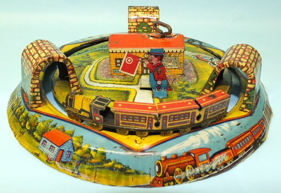 Toys For The Honeymoon : Antique marx honeymoon express train tin wind up toy