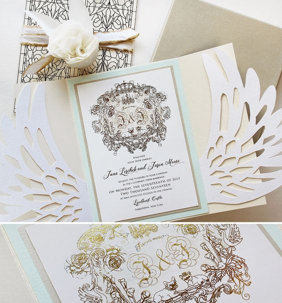 Lots of good stuff, laser cut, sculpted bloom, custom crest, hand-painted silk ribbon.  We have brought out all the stops!  #momentaldesigns #kristyrice #handpaintedinvite #lasercutinvite  #sculptedbloom #regalweddinginvite  #lyndhurstcastlewedding