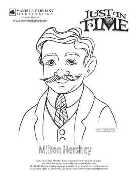 Coloring Page Of Milton Hershey Great For Pennsylvania