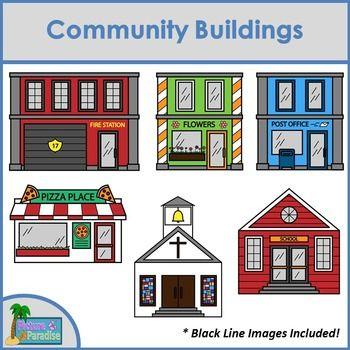 Community Buildings Clip Art | Pizza, Pets and Clip art