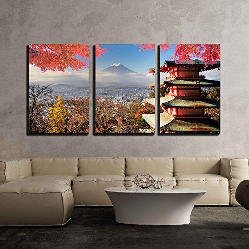 3 Piece Canvas Wall Art Mt Fuji With Fall Japanese Home Decor Japanese House Japanese Decor