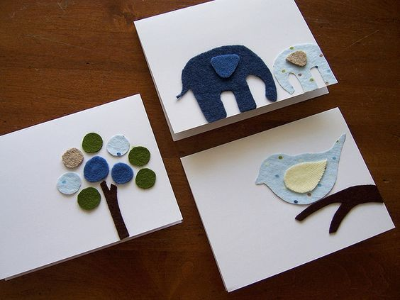 Cute cards made with felt and flannel! I want to make my own baby shower cards