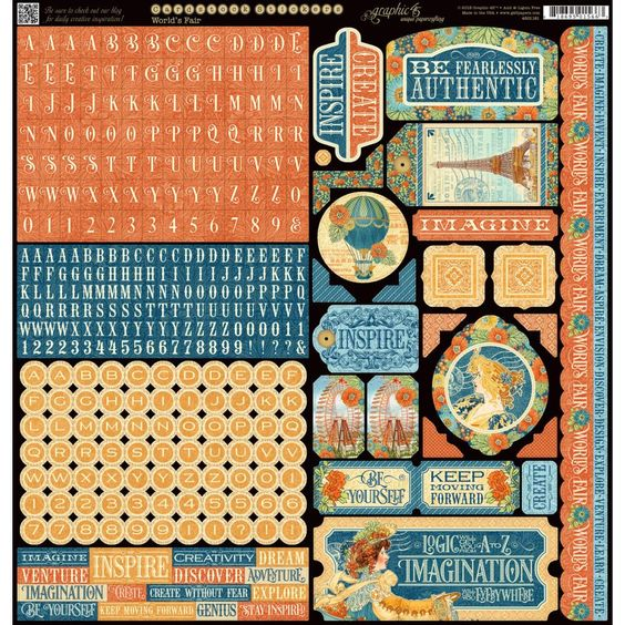 "World's Fair Cardstock Stickers 12""X12"""