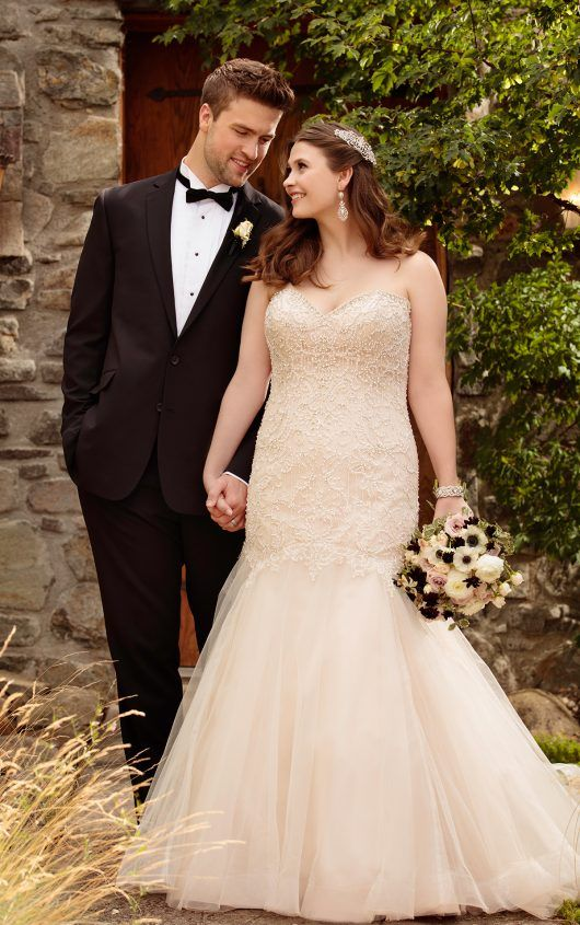 Fit and flare wedding dress with tulle skirt