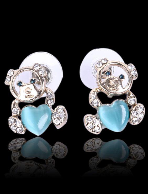 Pendientes diamante dorado corazón piedra azul US$7.36