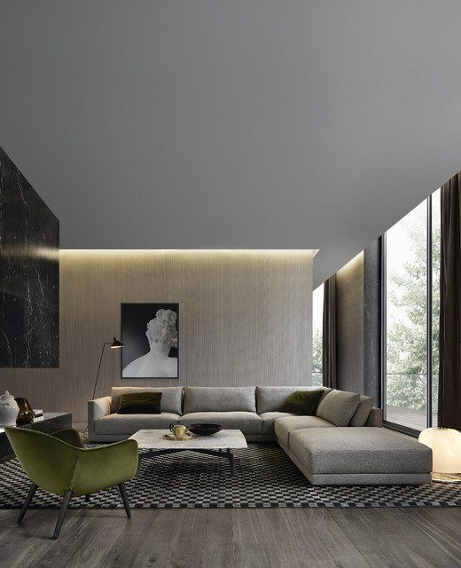 Beigey Grey Wall Warm Lights And Wood Flooring Living Room