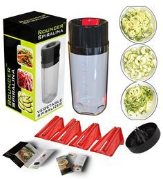 Spiralina - Vegetable Spiraliser - 4 setting tool, Spaghetti / julienne and spiral cutter of vegetables for stir-fries, salads or pasta dishes + Hand Guard + Recipe Book and Manual