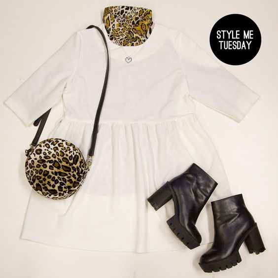 Tuesday Style Me! Our New Arrivals are perfect Wardrobe updates for cool Spring styling!  Don't forget to get your 10% STUDENT DISCOUNT!   Smock Dress with Tie Waist Ivory  Crop Sleeve Blouse Leopard Leather Tread Boot Black  Textured Faux-Fur Shoulder Bag Leopard