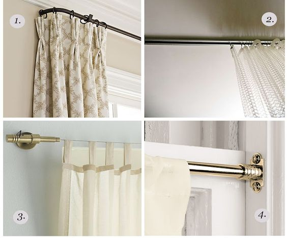 Curtain rod styles. 1. Return rod 2. Ceiling track 3. Modern ...
